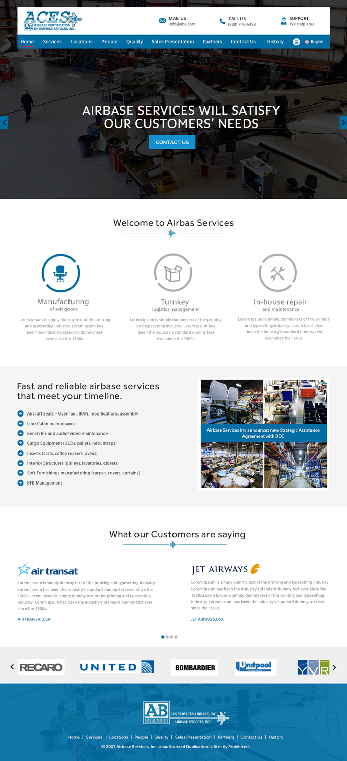 Modern Professional Aviation Web Design For Airbase Services Inc Canada By Xclusive Designer Design 11265885