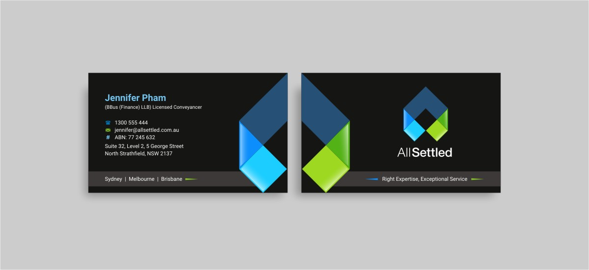 Elegant modern real estate business card design for all settled by business card design by indianashok for all settled design 11300319 reheart Choice Image