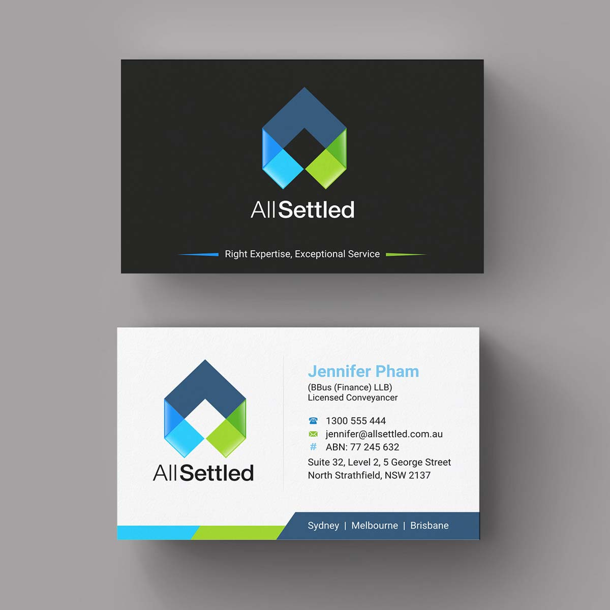 Elegant modern real estate business card design for all settled by business card design by indianashok for all settled design 11300326 reheart Image collections