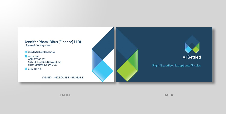 Elegant modern real estate business card design for all settled by business card design by creativewing for all settled design 11338453 reheart Image collections