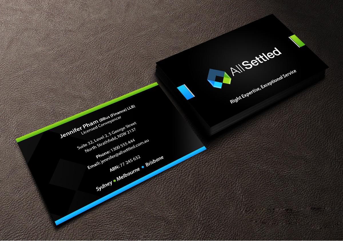 Elegant modern business card design for all settled by creations business card design by creations box 2015 for all settled design 11292507 reheart Image collections