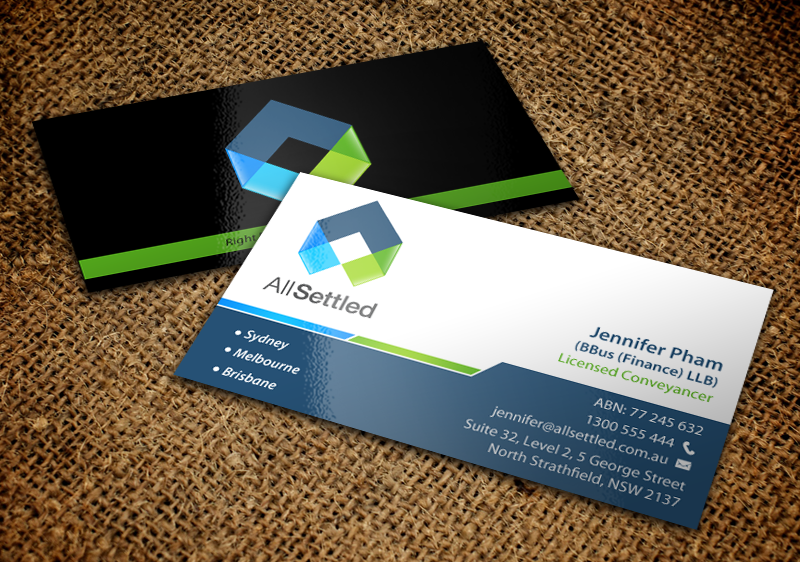 Elegant modern real estate business card design for all settled by business card design by chandrayaaneative for all settled design 11284438 reheart Image collections