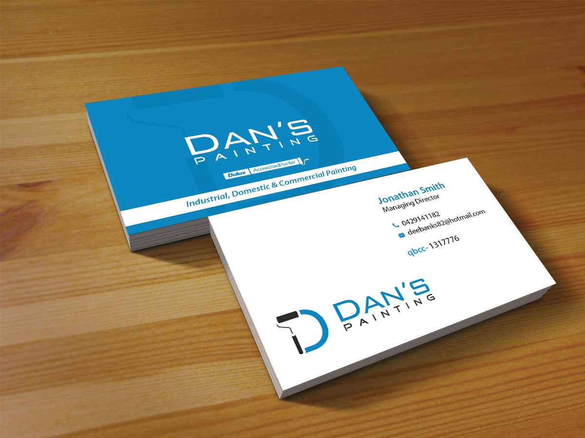 Professional modern business card design for dan banks by creations business card design by creations box 2015 for dans painting needs a logo to use on reheart Choice Image