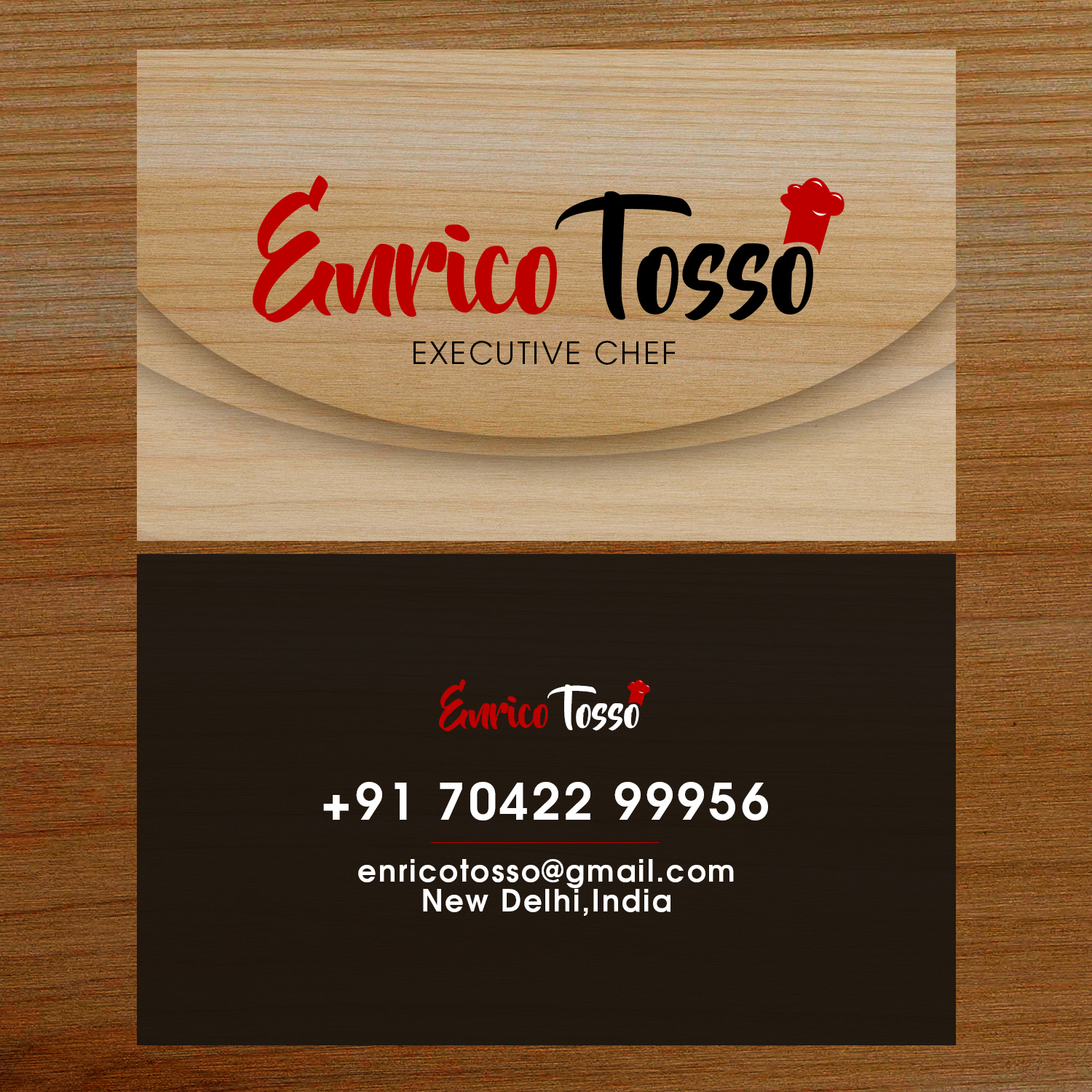 Elegant playful business card design for enrico tosso by club flyer business card design by club flyer studios for chef business card presentation card design reheart Image collections