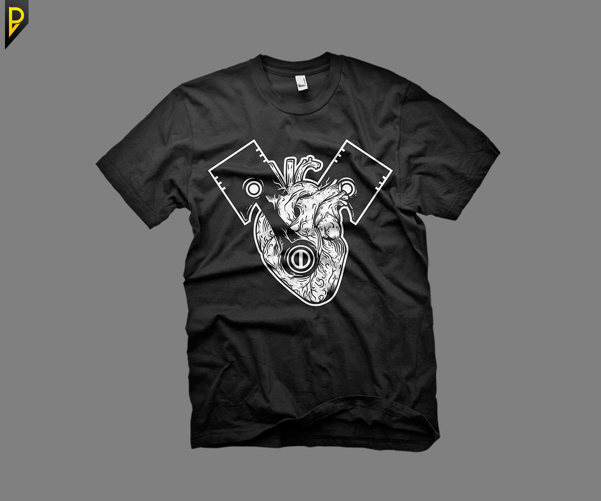 T Shirt Design 11335276 Submitted To Engine Heart Vector