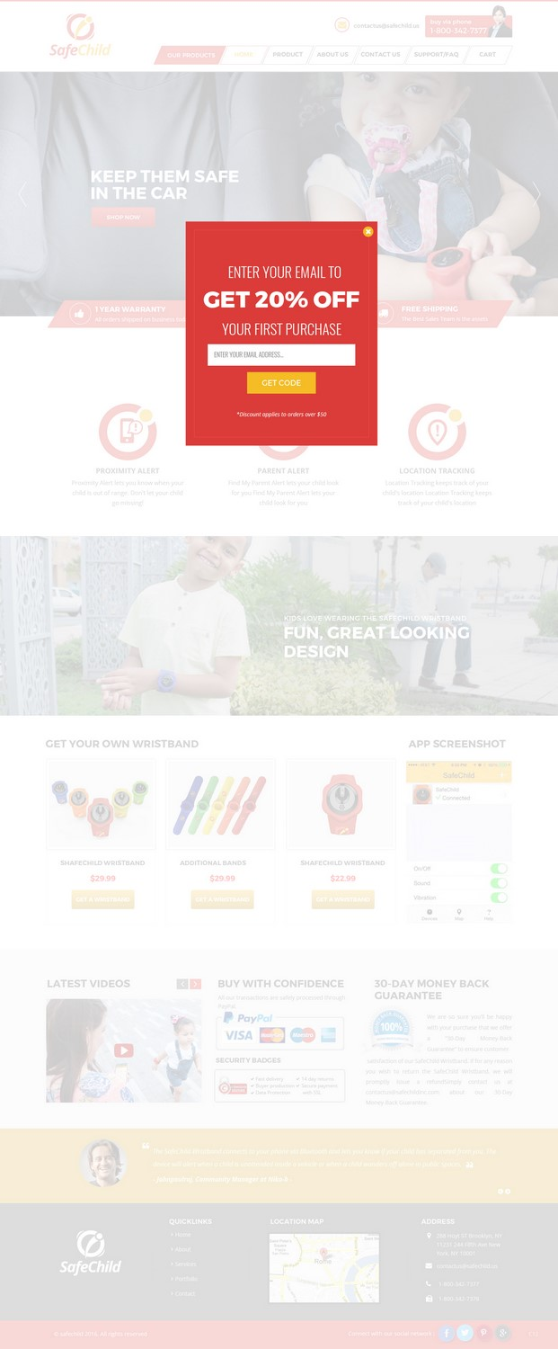Feminine, Colorful, Electronics Web Design for SafeChild by pb