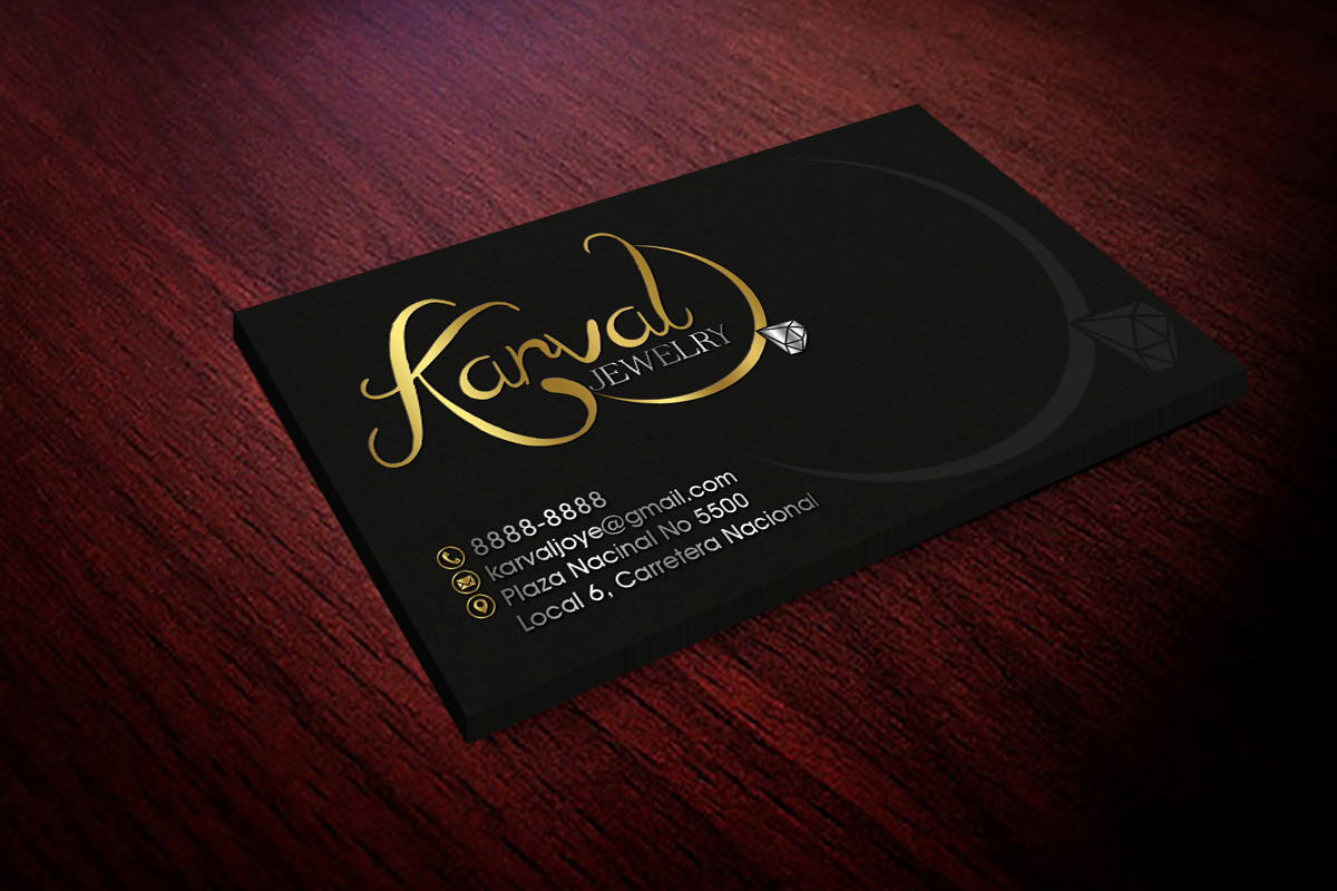 Serious conservative jewelry store business card design for business card design by hardcore design for joyeria karval design 11439860 reheart Gallery