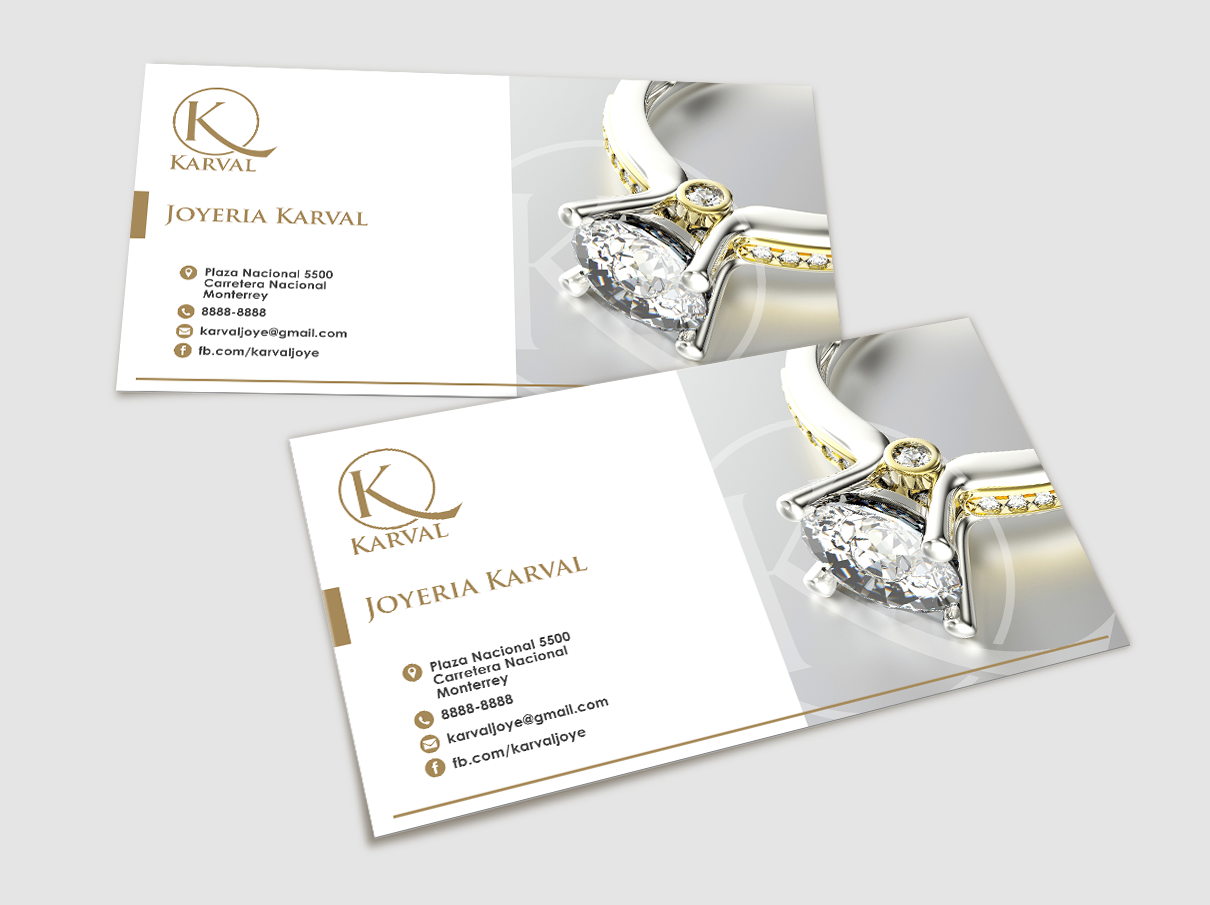 Serious conservative jewelry store business card design for business card design by for joyeria karval design 11358403 reheart