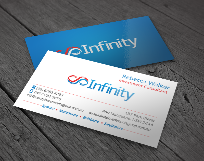 Modern professional finance business card design for infinity business card design by chandrayaaneative for infinity group australia design 11389293 colourmoves