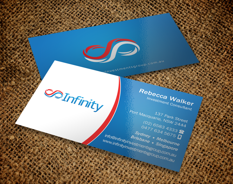 Modern professional finance business card design for infinity business card design by chandrayaaneative for infinity group australia design 11389301 reheart Images