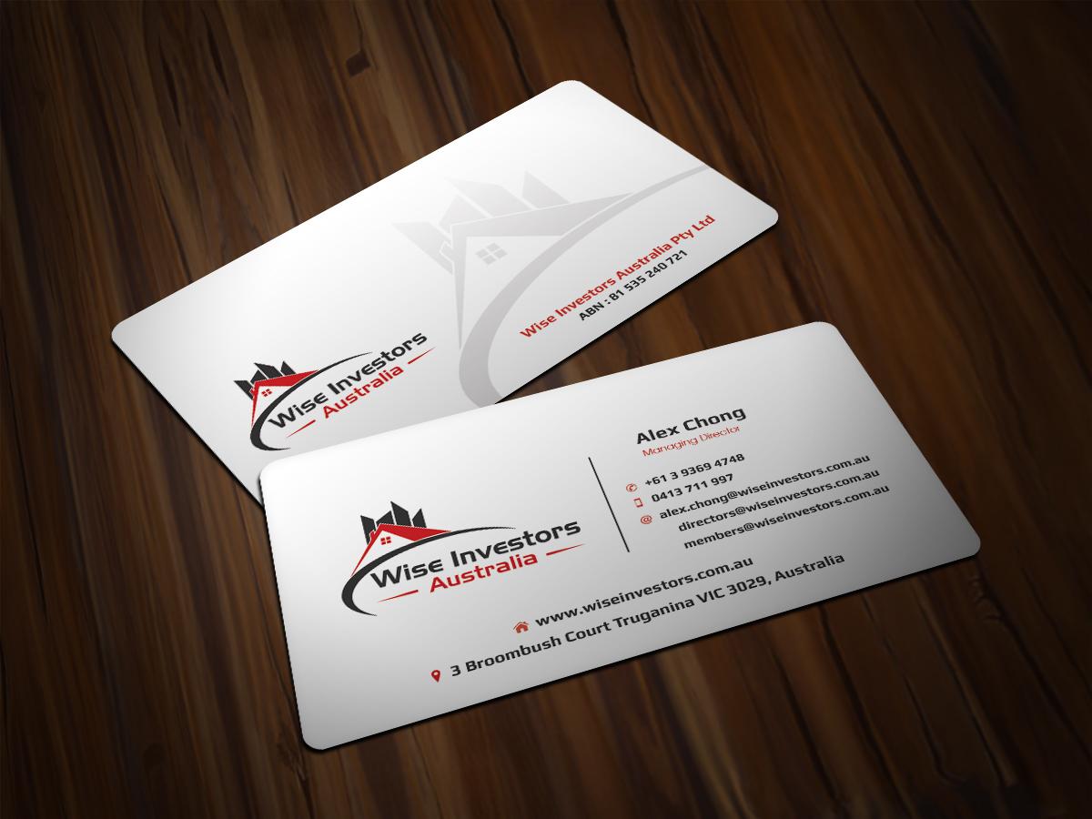 37 elegant business card designs residential business card design business card design by scorpius design for wise investors australia pty ltd design reheart Images