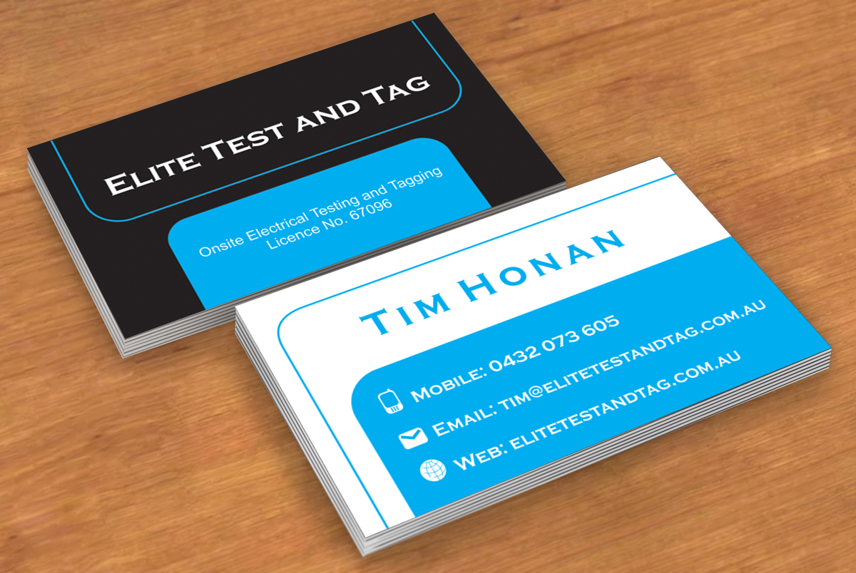 Elegant playful appliance business card design for elite test and business card design by simina for elite test and tag design 2358614 reheart Image collections