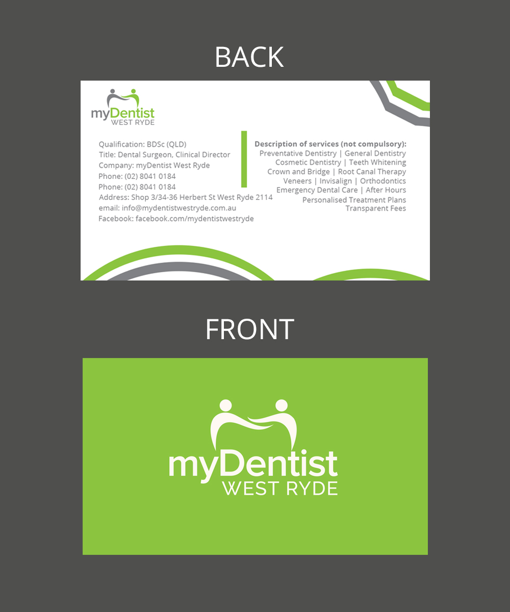 Design De Carte Visite Par Reynaldobueno Pour MyDentist West Ryde
