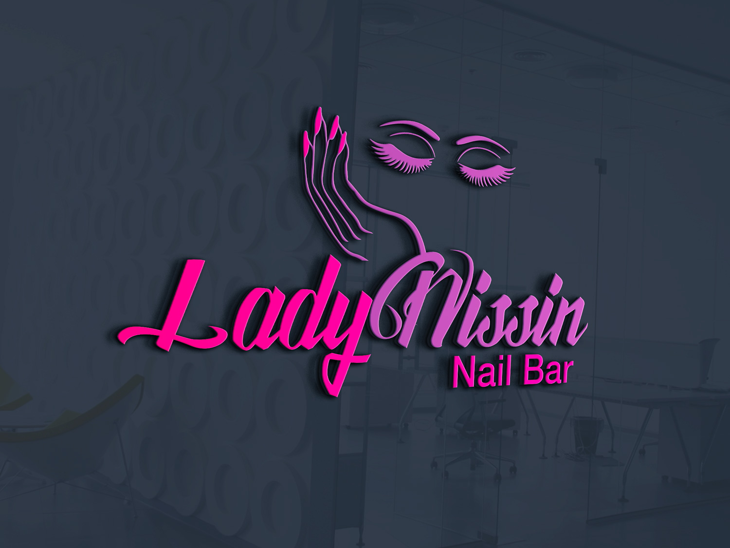 Colorful Playful Salon Logo Design For Lady Nissin Nail Bar By