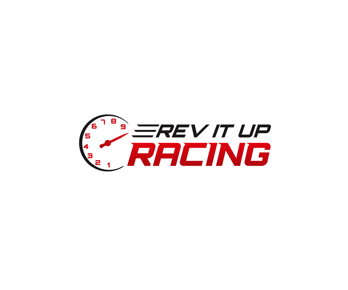 bold masculine car racing logo design for rev it up racing by gjr