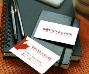Serious modern logo and business card design job logo and business logo and business card design job sound advice canada immigration services winning design by colourmoves