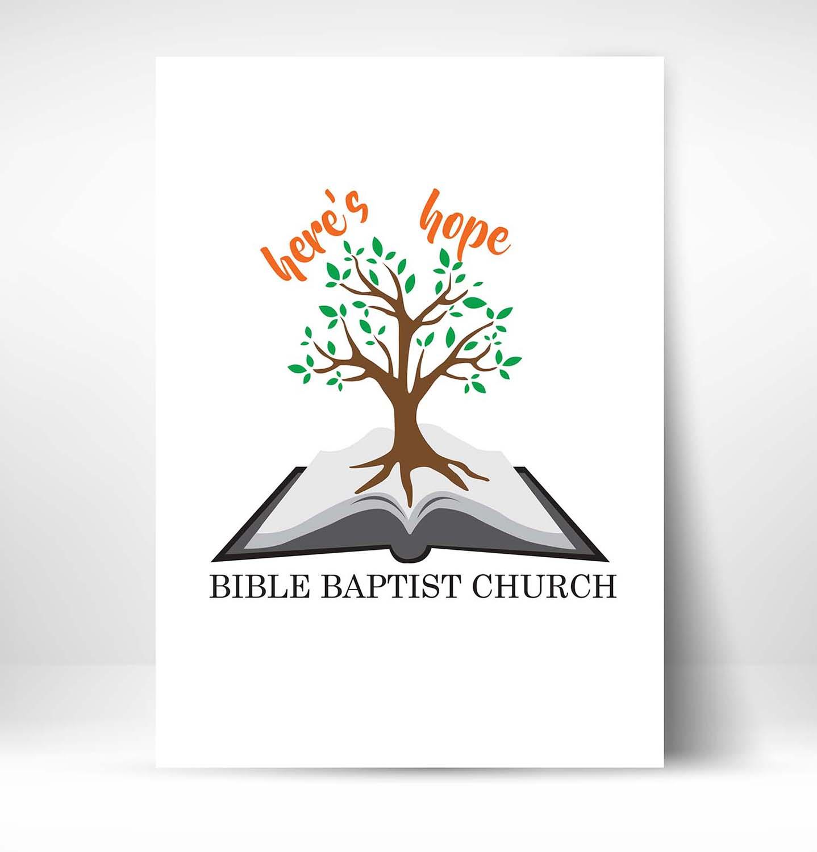 bold playful logo design for heres hope bible baptist