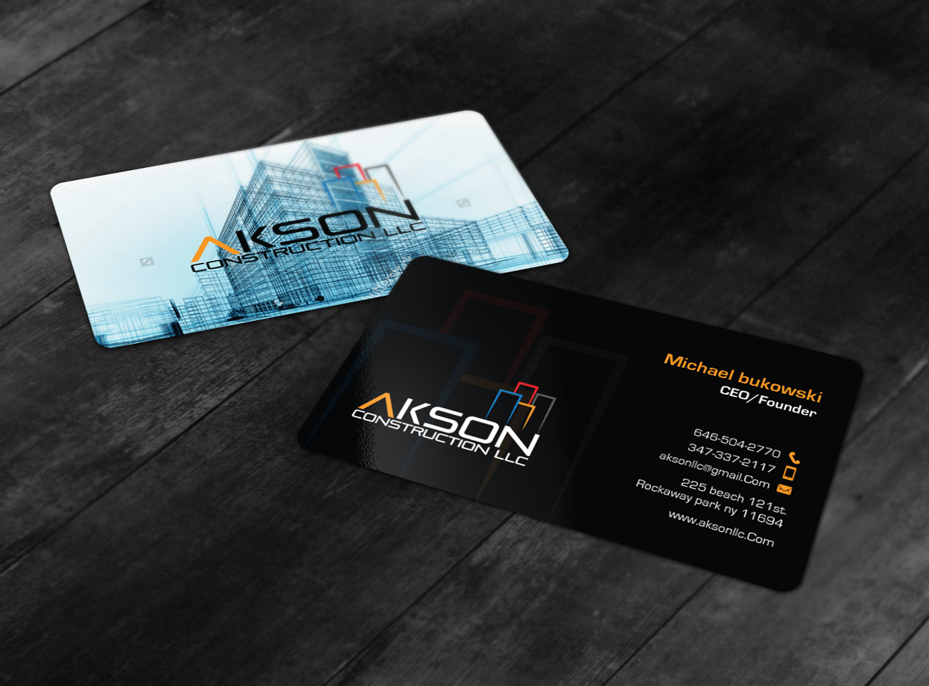 Serious Modern Construction Business Card Design For A