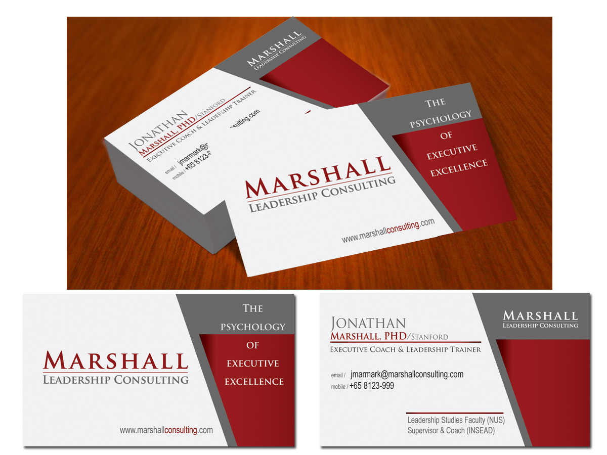 Upmarket, Serious Business Card Design for Marshall Consulting Pte ...