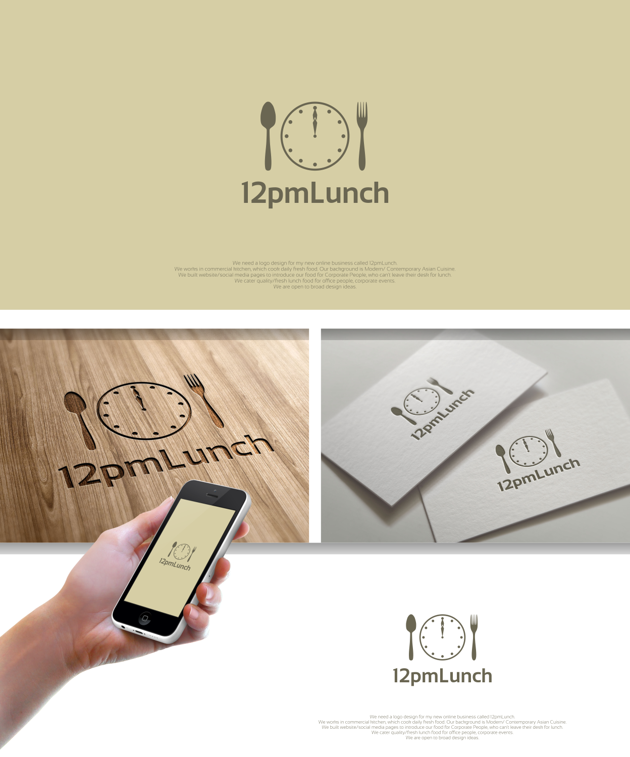 Elegant Modern Business Logo Design For 12pmlunch By