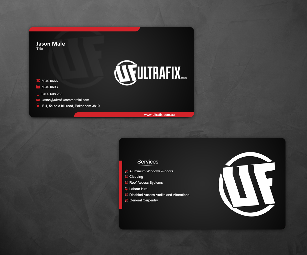 Modern professional business business card design for ultrafix by business card design by ews dezine for ultrafix design 11650258 colourmoves