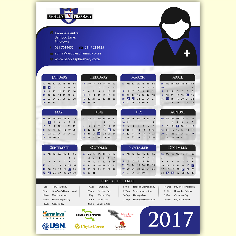 Elegant Desk Calendar Design : Modern elegant pharmacy calendar design for a company by