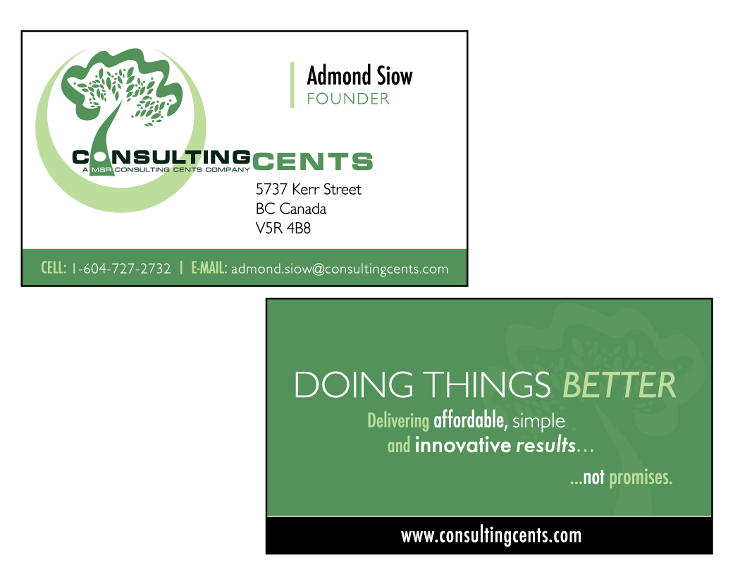 Business card design for msr consulting cents by lilly brennan business card design by lilly brennan for business card design only have logo online magicingreecefo Choice Image