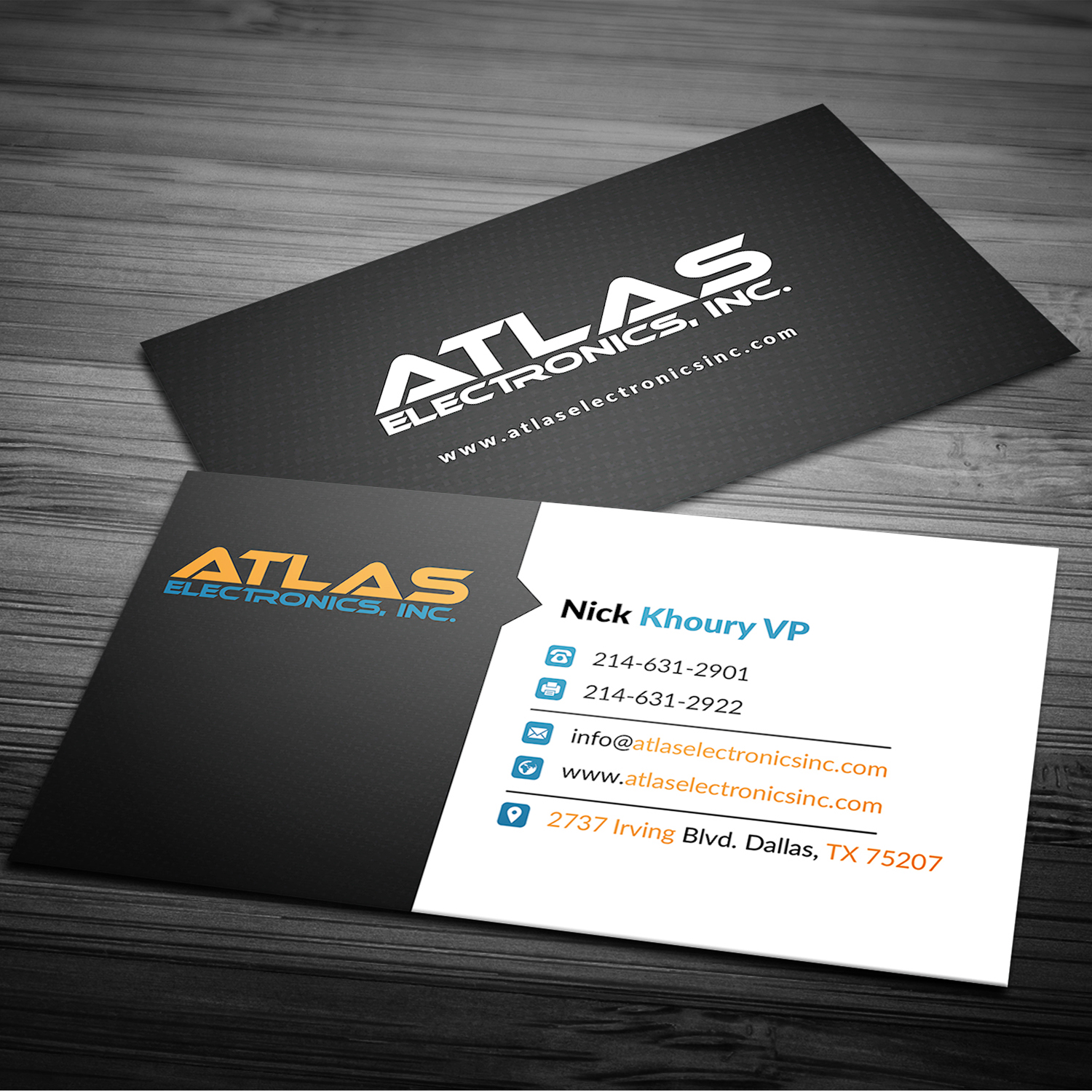 Masculine, Bold Business Card Design for Atlas Electronics, Inc by ...