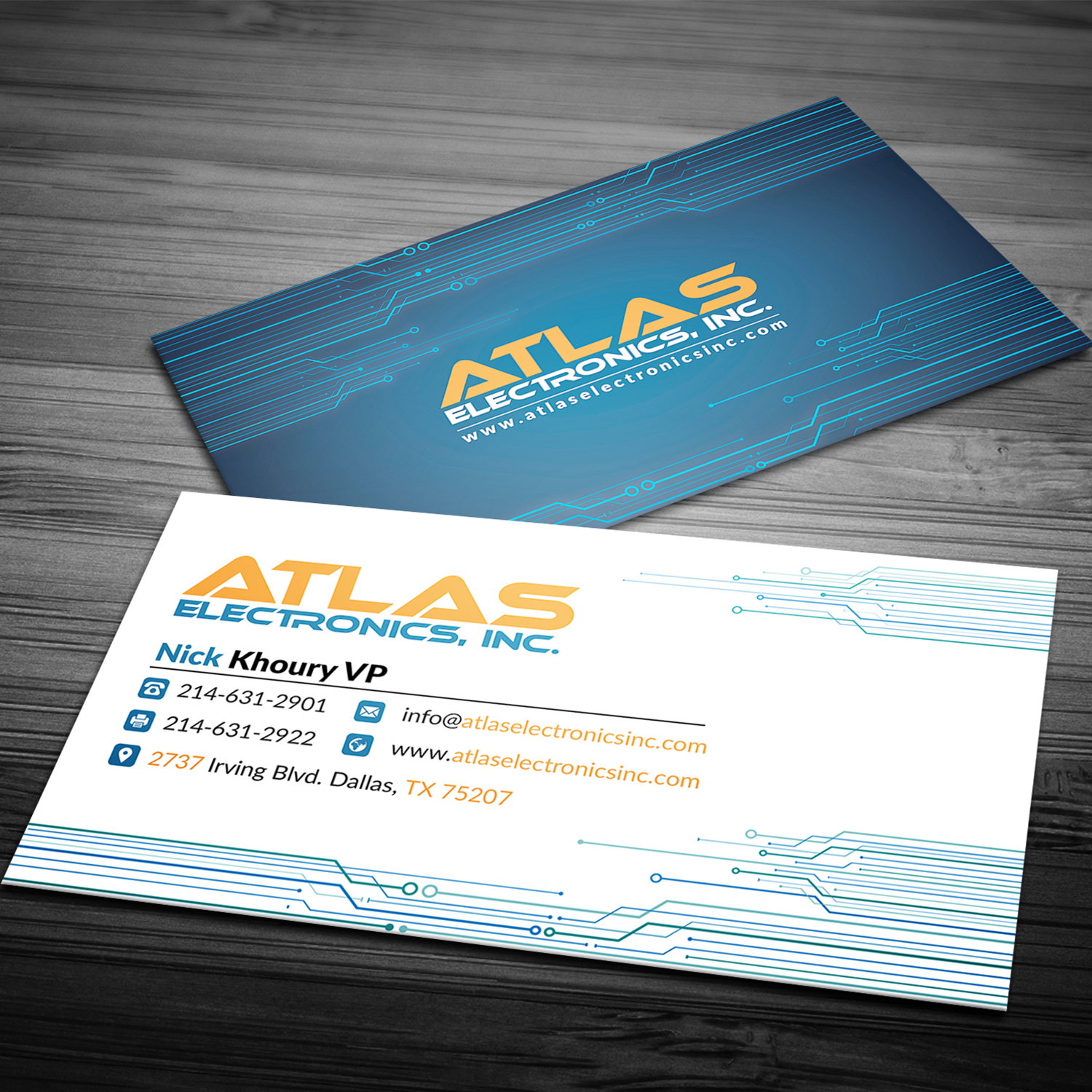 masculine bold business card design for atlas electronics inc by