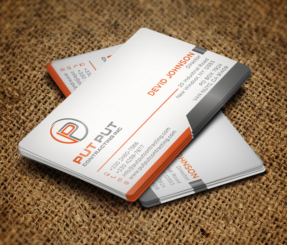 Bold professional telecommunications business card design for put bold professional telecommunications business card design for put put contracting inc in canada design 11764088 reheart Choice Image