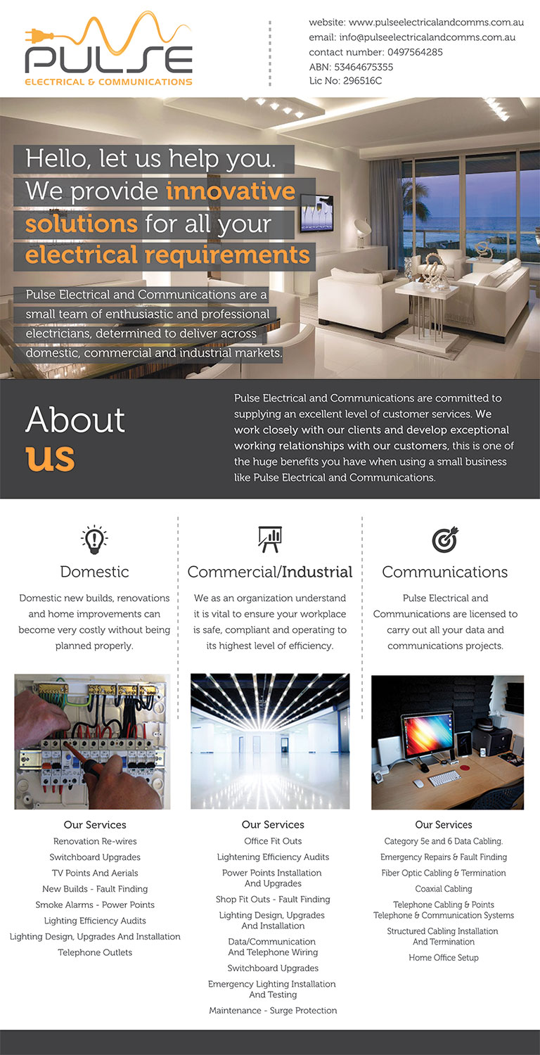 Professional Modern Electrician Flyer Design For Pulse Electrical Home Wiring By Nozomimiyu And Communications 11796069