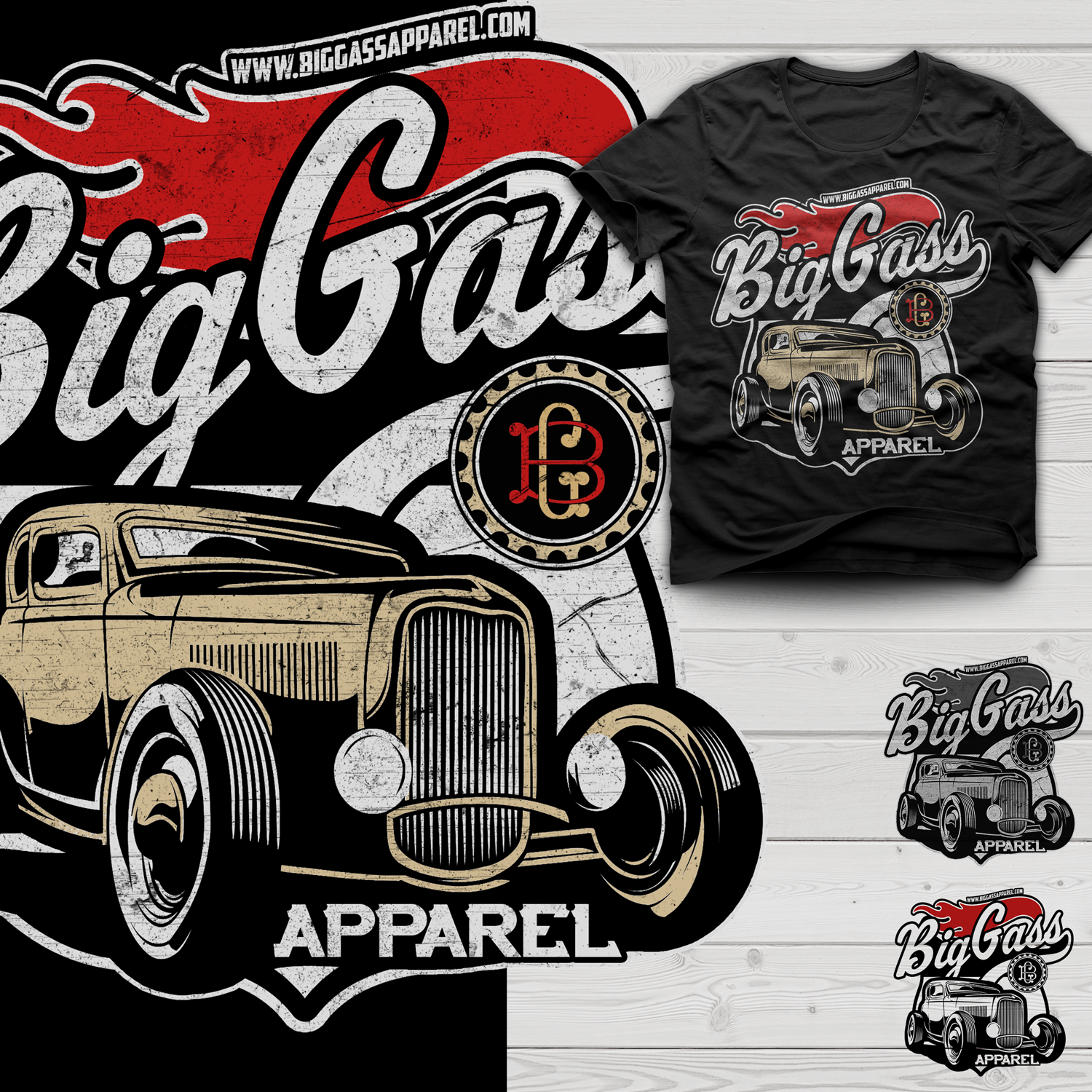 T shirt design job - T Shirt Design Job Big Gass Apparel Hot Rod Lifestyle Clothing Winning Design
