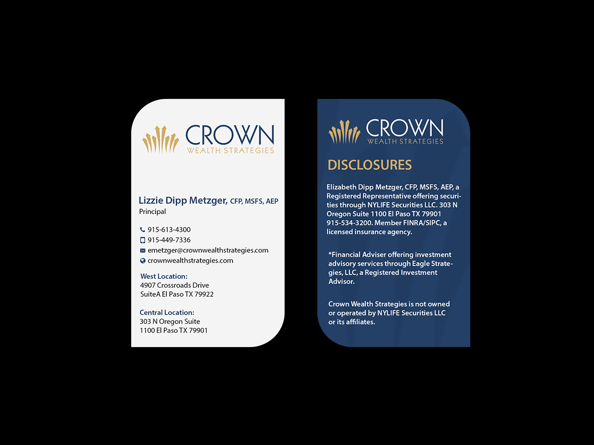 Elegant upmarket business card design for liz metzger by business card design by creations box 2015 for financial planning wealth advisor business card design magicingreecefo Choice Image