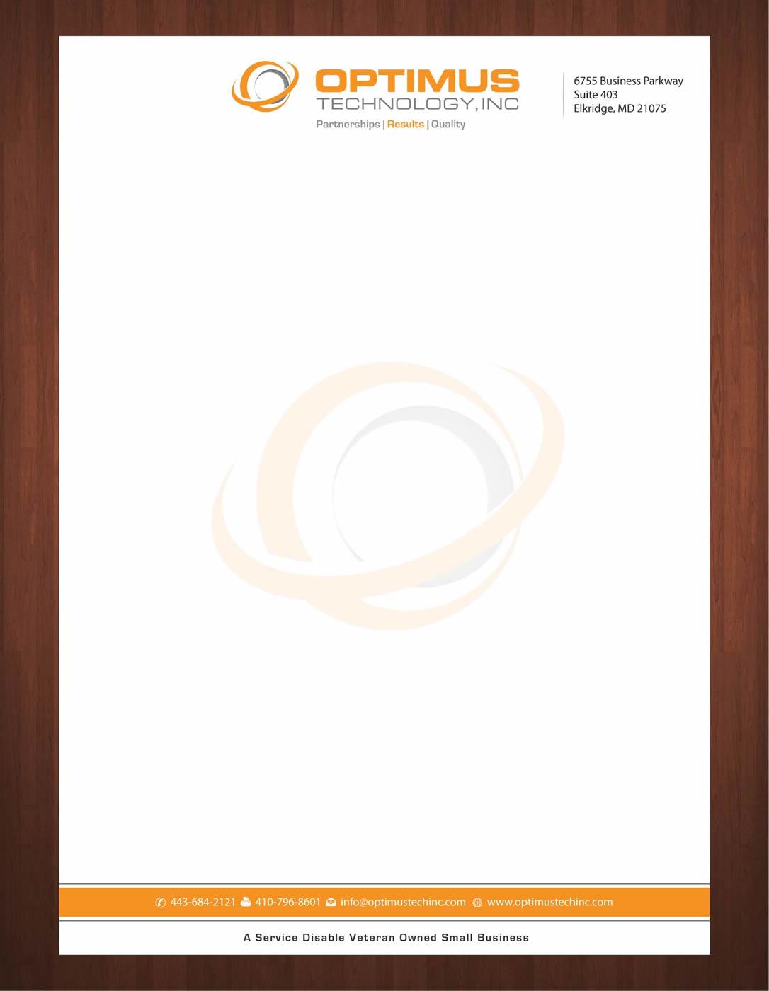 Serious Professional Letterhead Design for Optimus Technology – Corporate Letterhead