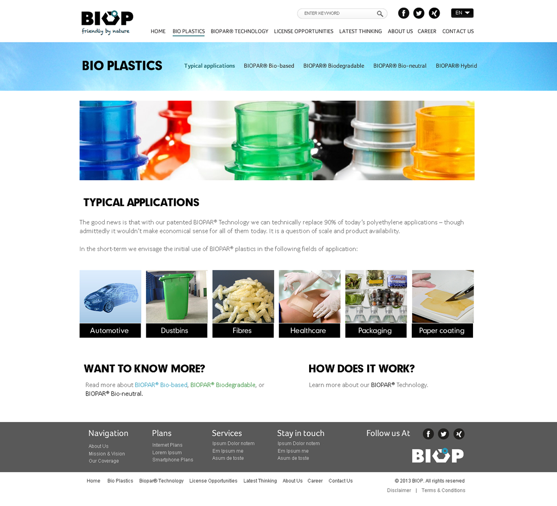 Masculine serious biodegradable web design for biop for Masculine web design