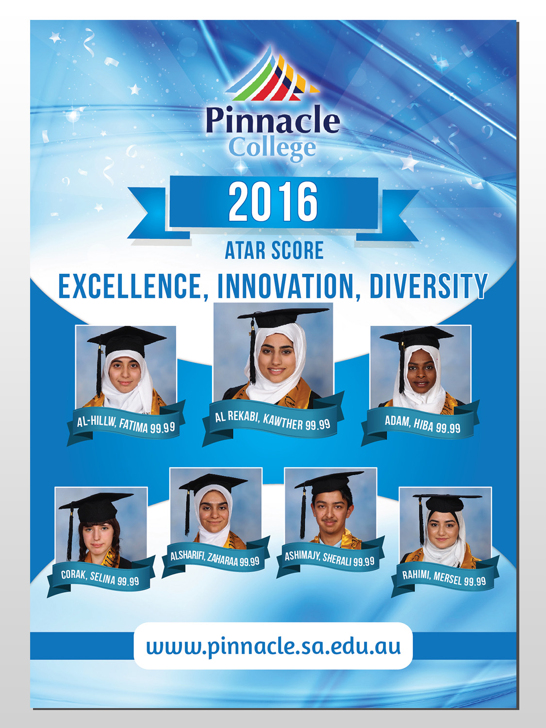 bold modern education poster design for pinnacle college by