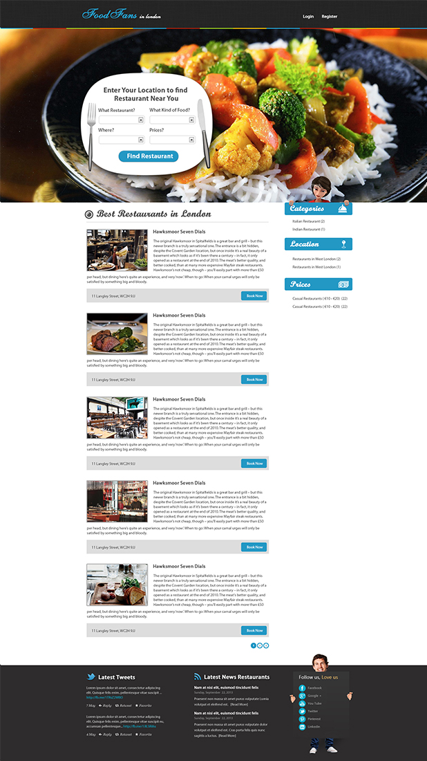 Modern elegant restaurant web design for a company by