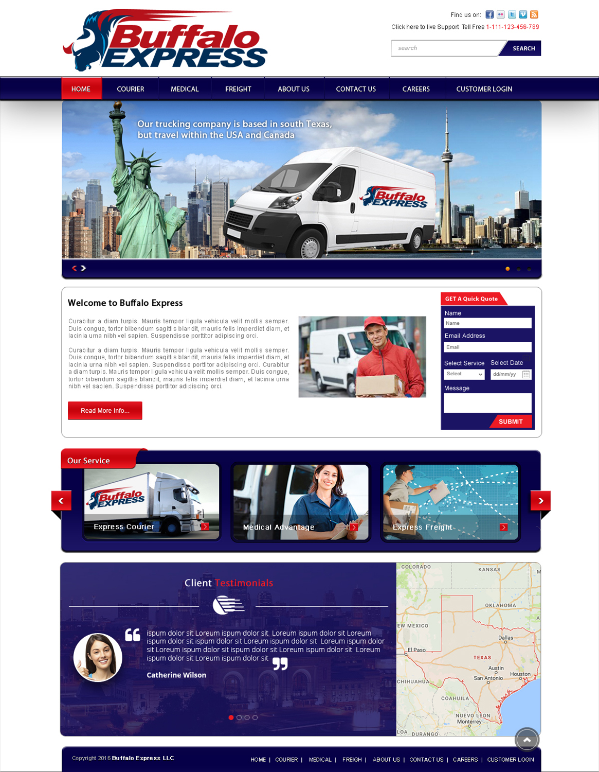 Serious, Professional, Trucking Company Web Design for