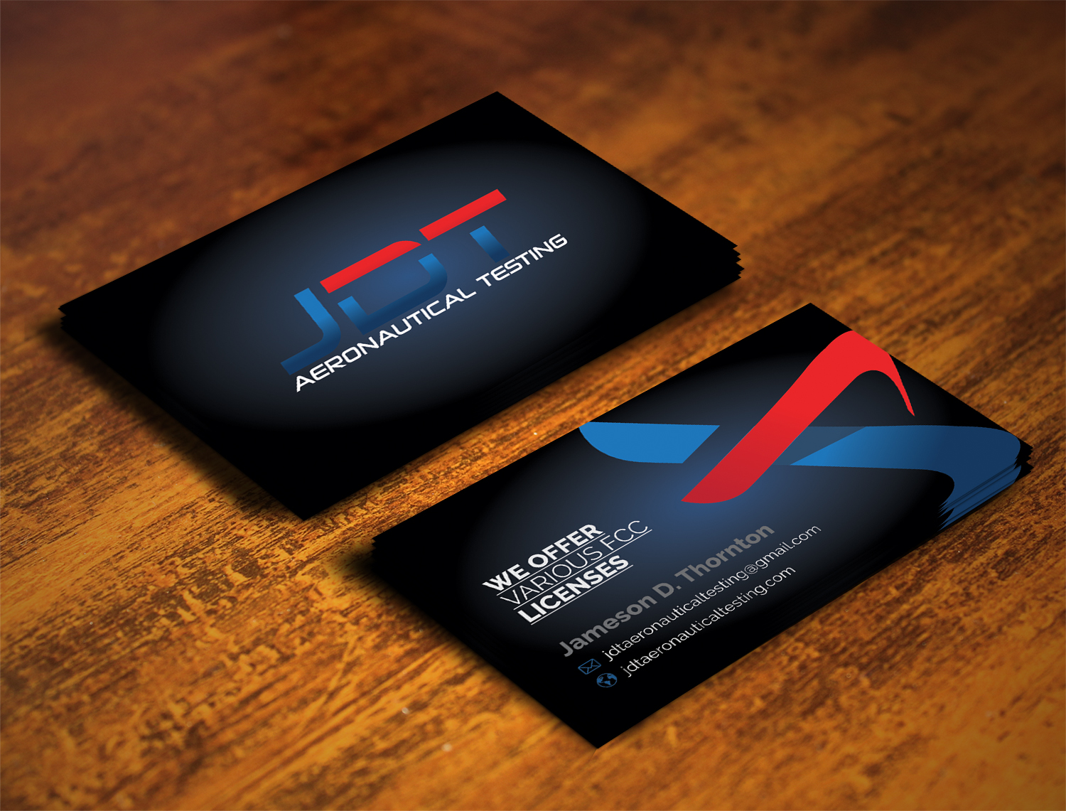 Serious, Colorful Business Card Design for JDT Aeronautical Testing ...