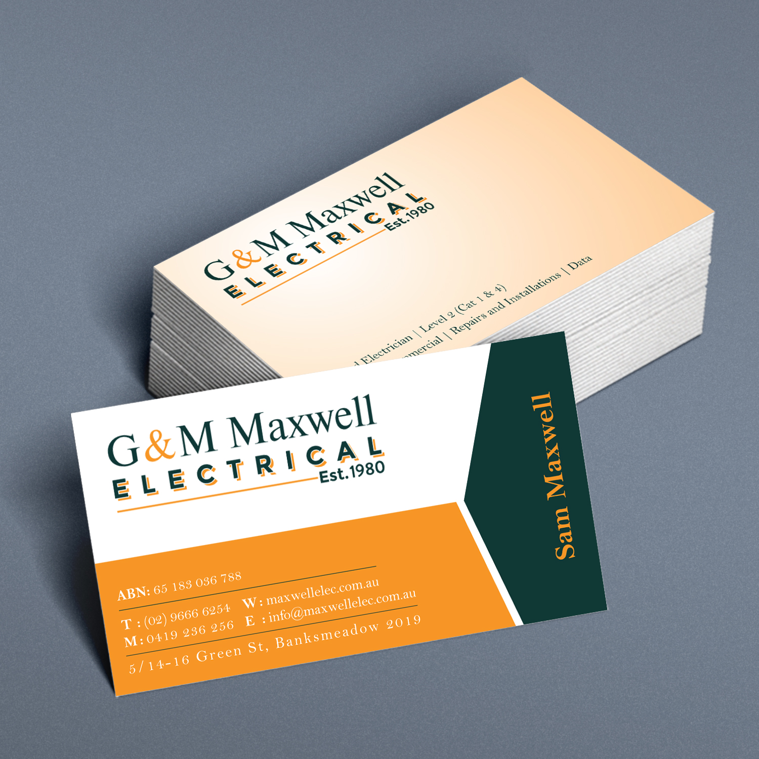 professional serious business card design for sam maxwell by