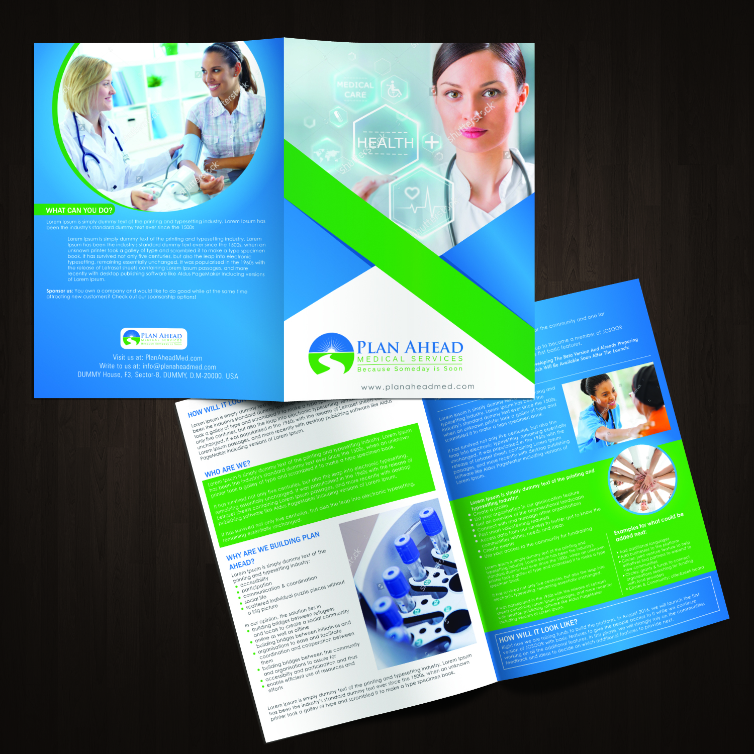 serious professional medical brochure design for plan ahead