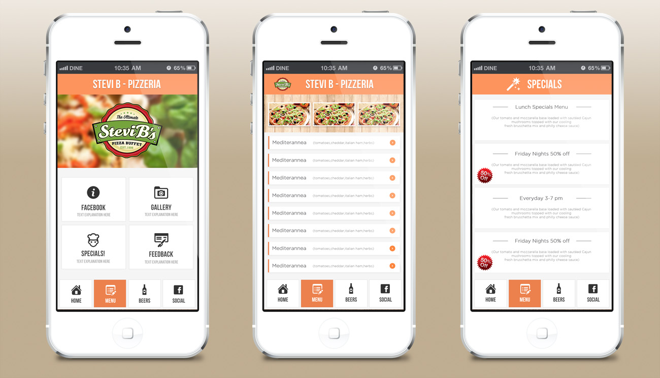 Elegant playful restaurant app design for a company by