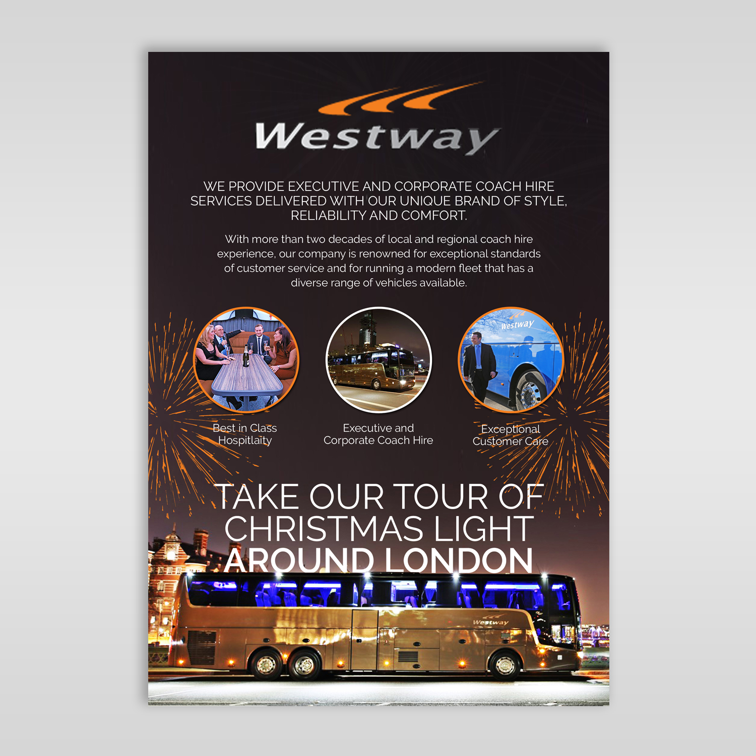 professional bold party planning flyer design for westway coach