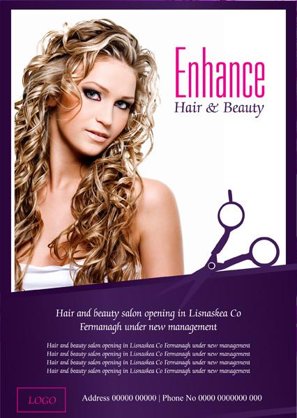 Modern upmarket beauty salon flyer design for a company for Hair salon companies