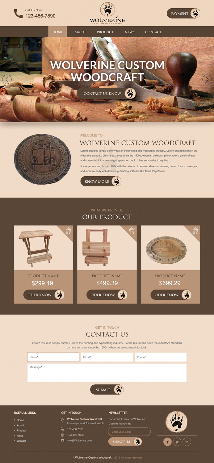 Traditional Serious Work Web Design For Wolverine Custom Woodcraft