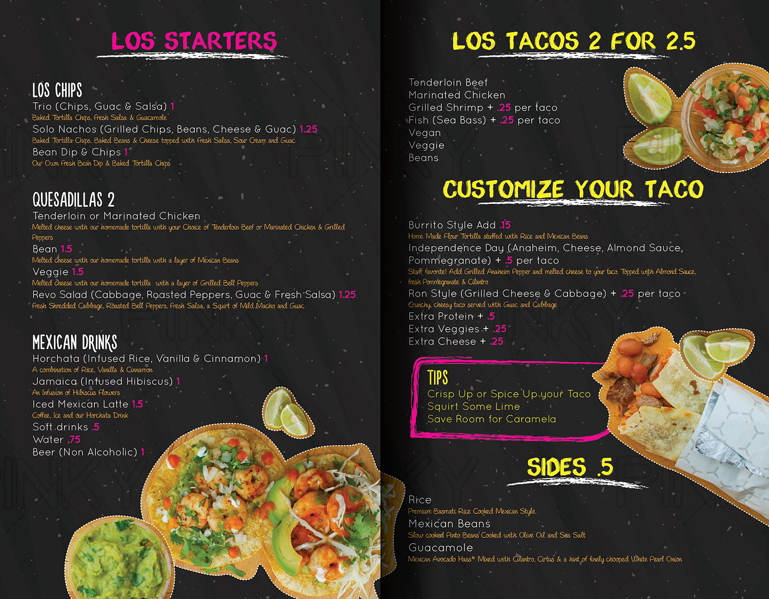 bold, modern, mexican restaurant menu design for solo tacos tijuana