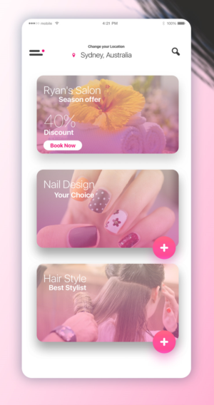 a mobile app for beauty salon professional to publish their