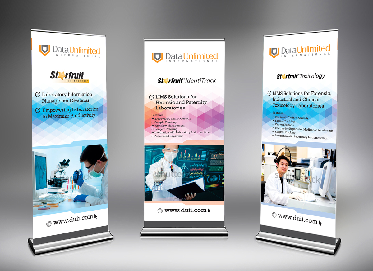 Exhibition Booth Banner : Serious professional laboratory trade show booth design