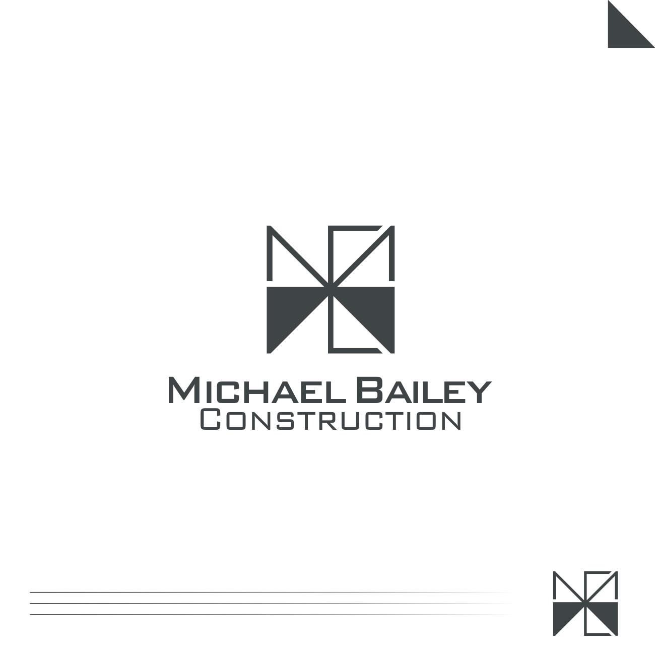 bold, serious, construction company logo design for michael bailey
