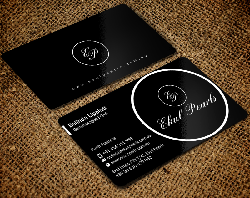 Elegant professional business card design for ekul pearls by brand business card design by brand aid for sale of south sea and tahitian pearl jewellery reheart Gallery